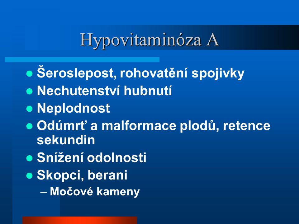 Hypovitaminóza A  Šeroslepost, rohovatění spojivky  Nechutenství hubnutí  Neplodnost  Odúmrť a malformace plodů, retence sekundin  Snížení odolno