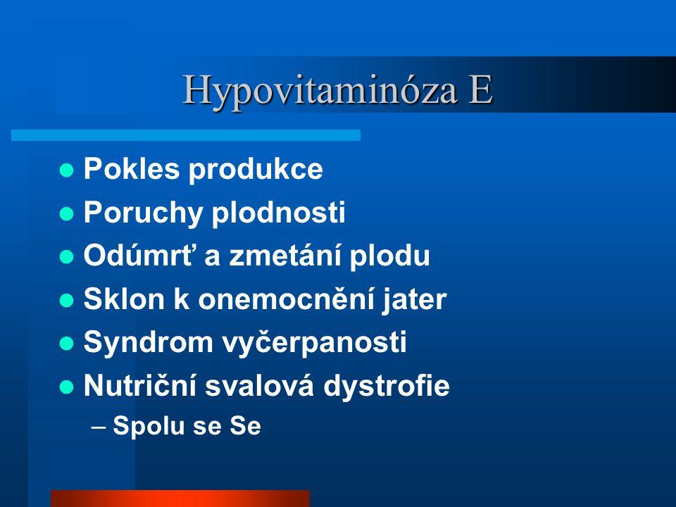 Hypovitaminóza E  Pokles produkce  Poruchy plodnosti  Odúmrť a zmetání plodu  Sklon k onemocnění jater  Syndrom vyčerpanosti  Nutriční svalová dystrofie –Spolu se Se