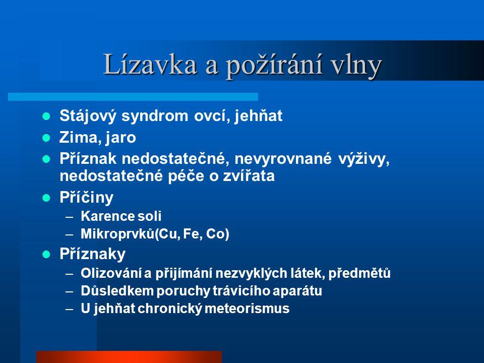 Lízavka a požírání vlny  Stájový syndrom ovcí, jehňat  Zima, jaro  Příznak nedostatečné, nevyrovnané výživy, nedostatečné péče o zvířata  Příčiny –Karence soli –Mikroprvků(Cu, Fe, Co)  Příznaky –Olizování a přijímání nezvyklých látek, předmětů –Důsledkem poruchy trávicího aparátu –U jehňat chronický meteorismus