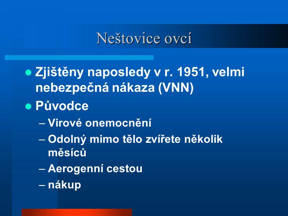 Neštovice ovcí  Zjištěny naposledy v r. 1951, velmi nebezpečná nákaza (VNN)  Původce –Virové onemocnění –Odolný mimo tělo zvířete několik měsíců –Ae