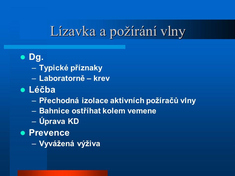 Onemocnění ovcí, koz Ektoparazitózy, endoparizitózy