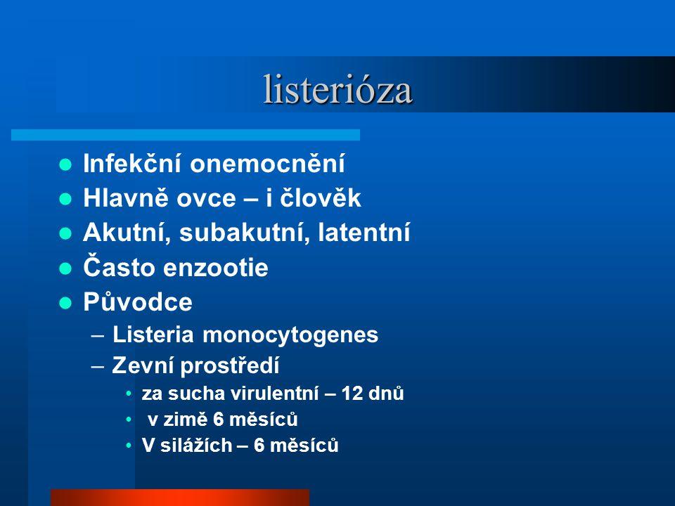 listerióza  Infekční onemocnění  Hlavně ovce – i člověk  Akutní, subakutní, latentní  Často enzootie  Původce –Listeria monocytogenes –Zevní pros