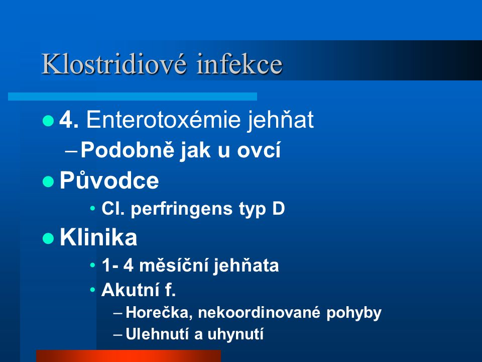 Klostridiové infekce  4.Enterotoxémie jehňat –Podobně jak u ovcí  Původce •Cl.