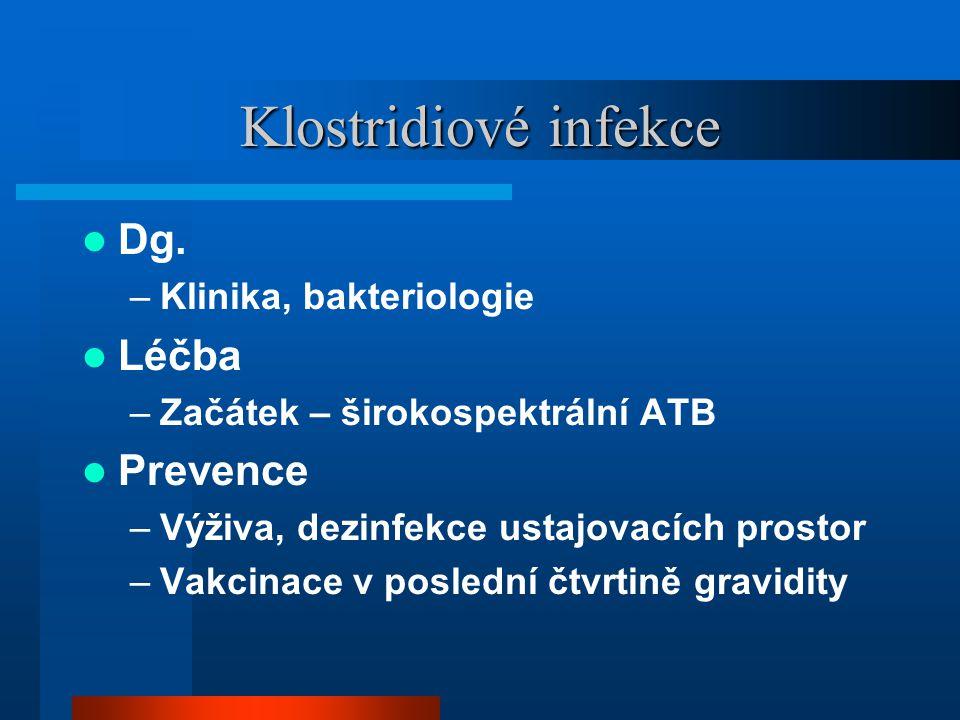 Klostridiové infekce  Dg. –Klinika, bakteriologie  Léčba –Začátek – širokospektrální ATB  Prevence –Výživa, dezinfekce ustajovacích prostor –Vakcin