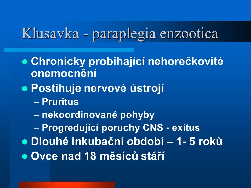 Klusavka - paraplegia enzootica  Chronicky probíhající nehorečkovité onemocnění  Postihuje nervové ústrojí –Pruritus –nekoordinované pohyby –Progred