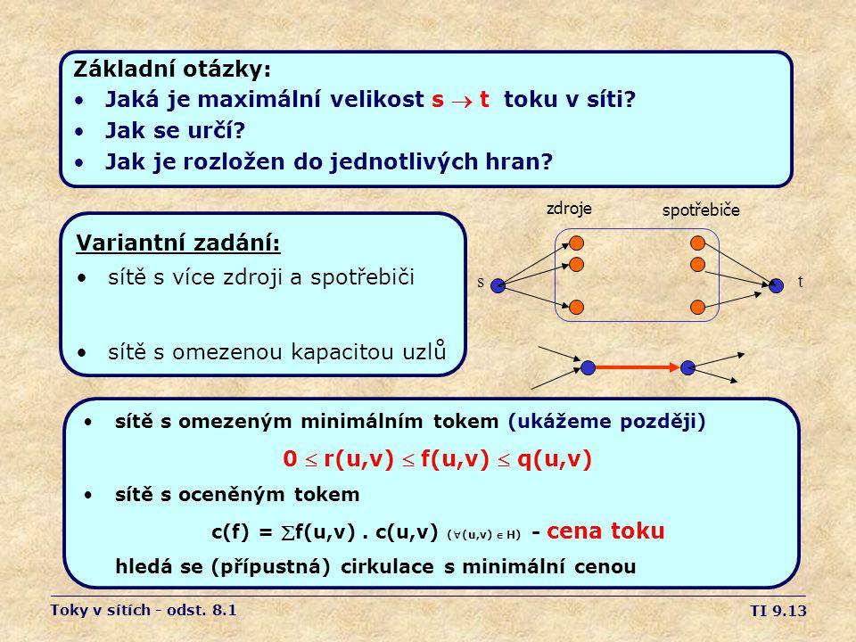 TI 9.13 Základní otázky: •Jaká je maximální velikost s  t toku v síti? •Jak se určí? •Jak je rozložen do jednotlivých hran? zdroje spotřebiče st Toky