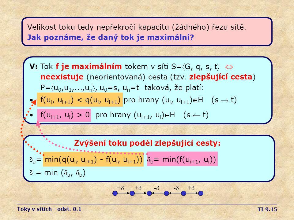 TI 9.15 Velikost toku tedy nepřekročí kapacitu (žádného) řezu sítě. Jak poznáme, že daný tok je maximální? ++ ++ -- -- ++ Toky v sítích - od