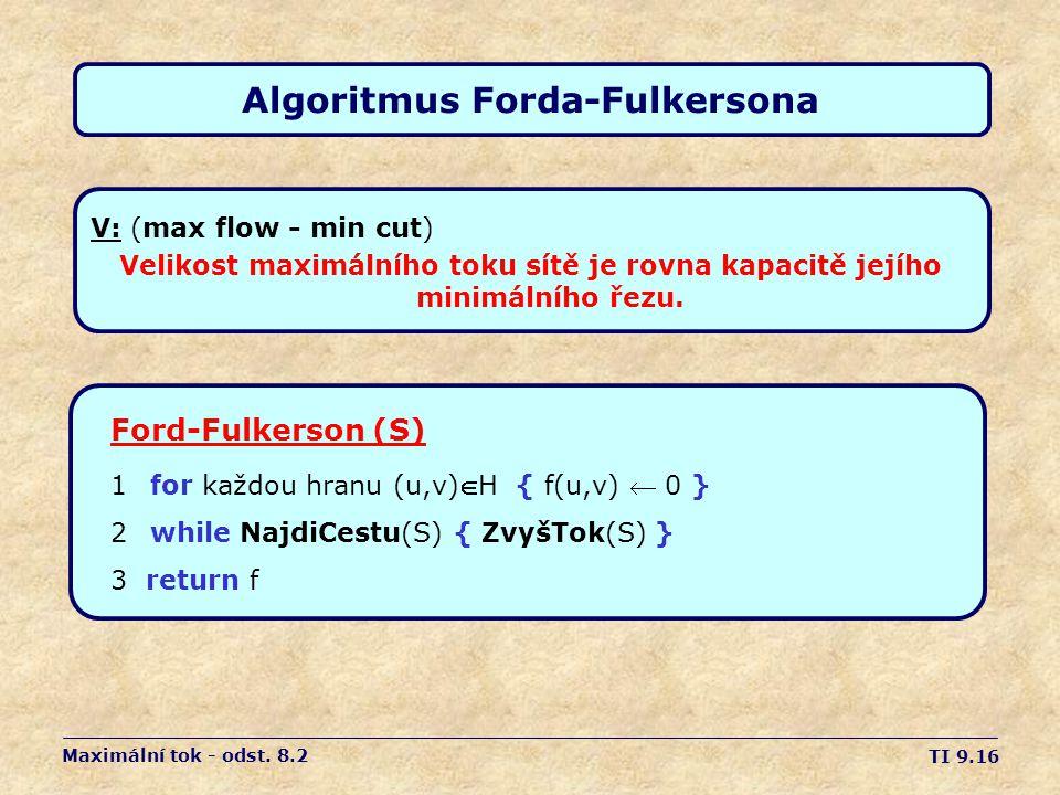 TI 9.16 Algoritmus Forda-Fulkersona V: (max flow - min cut) Velikost maximálního toku sítě je rovna kapacitě jejího minimálního řezu. Maximální tok -