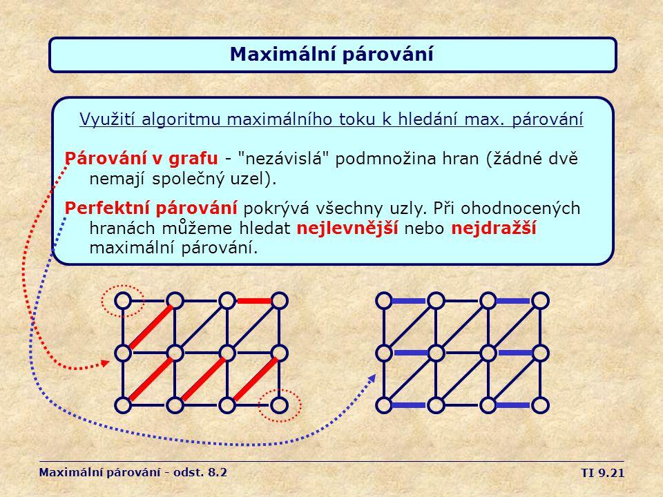 TI 9.21 Maximální párování Využití algoritmu maximálního toku k hledání max. párování Maximální párování - odst. 8.2 Párování v grafu -