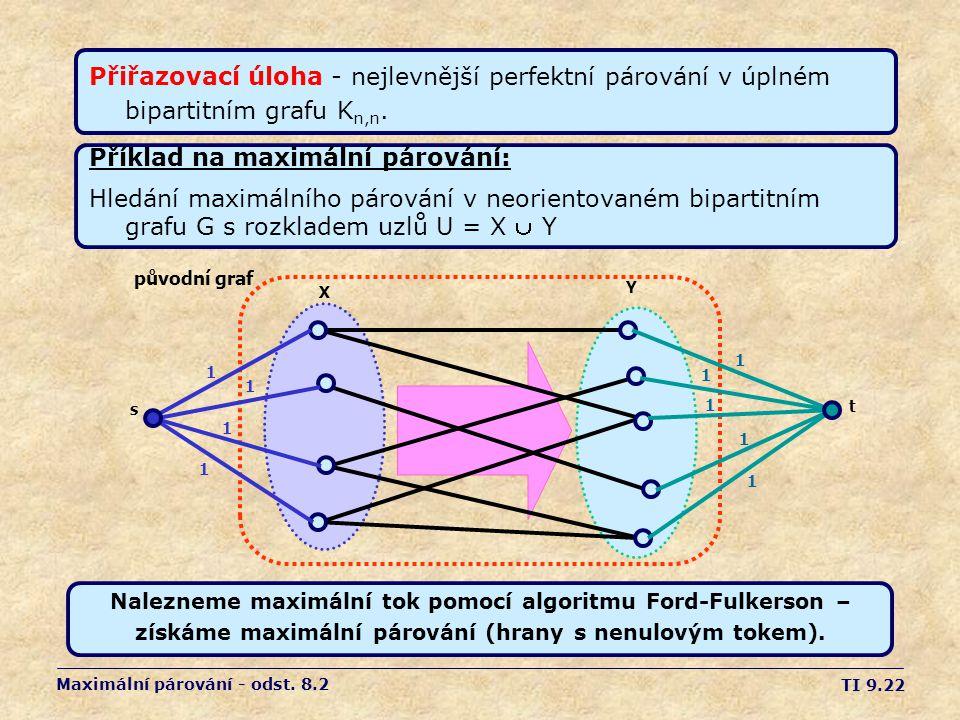 TI 9.22 Maximální párování - odst. 8.2 Přiřazovací úloha - nejlevnější perfektní párování v úplném bipartitním grafu K n,n. Příklad na maximální párov