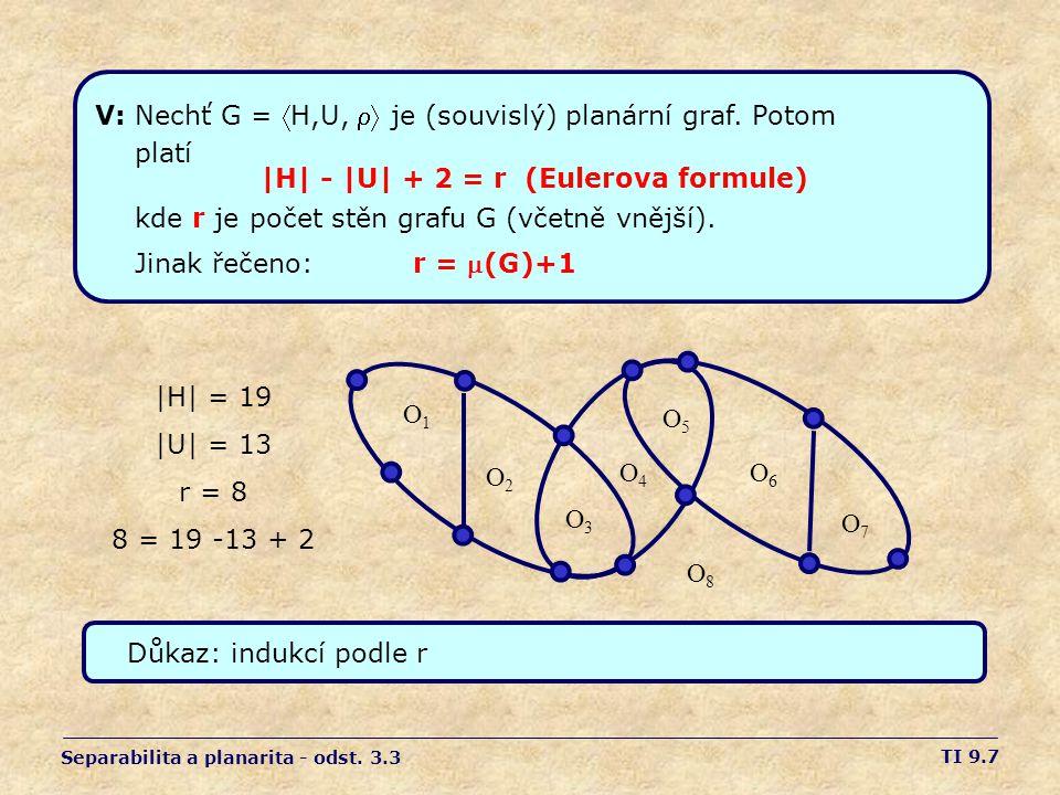 TI 9.7 Separabilita a planarita - odst. 3.3 V: Nechť G = H,U,  je (souvislý) planární graf. Potom platí |H| - |U| + 2 = r (Eulerova formule) kde r