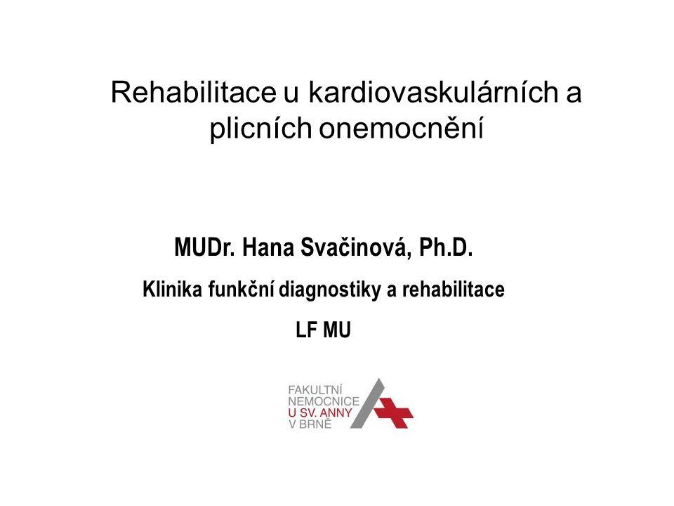 Rehabilitace u kardiovaskulárních a plicních onemocněn í MUDr. Hana Svačinová, Ph.D. Klinika funkční diagnostiky a rehabilitace LF MU