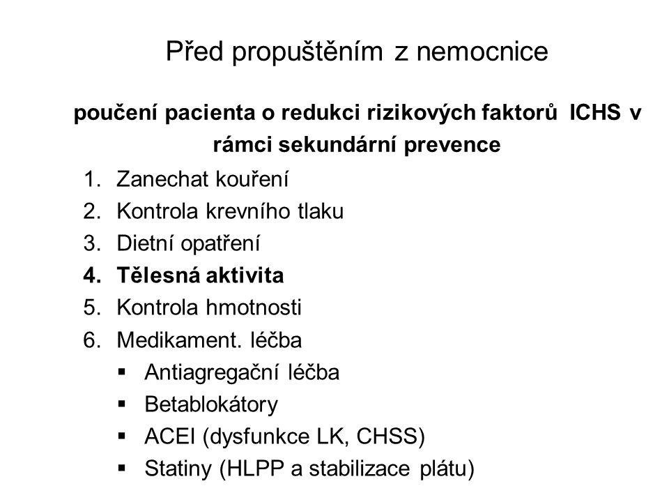 Před propuštěním z nemocnice poučení pacienta o redukci rizikových faktorů ICHS v rámci sekundární prevence 1.Zanechat kouření 2.Kontrola krevního tla