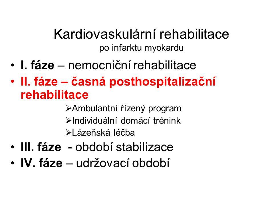 Kardiovaskulární rehabilitace po infarktu myokardu •I. fáze – nemocniční rehabilitace •II. fáze – časná posthospitalizační rehabilitace  Ambulantní ř