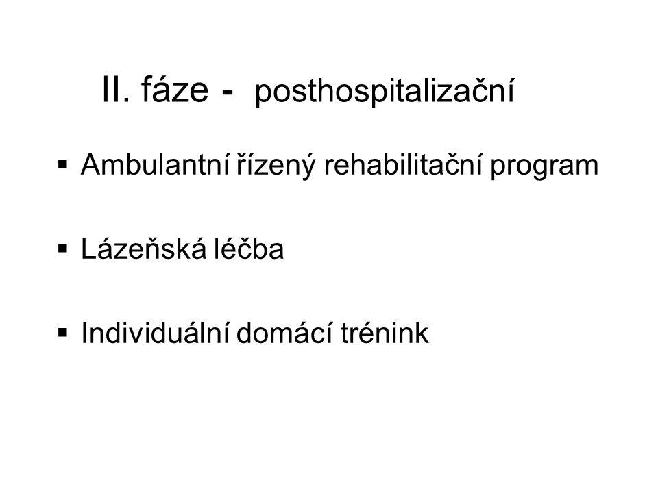 II. fáze - posthospitalizační  Ambulantní řízený rehabilitační program  Lázeňská léčba  Individuální domácí trénink