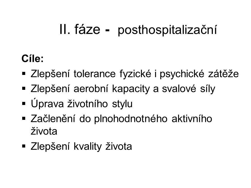 II. fáze - posthospitalizační Cíle:  Zlepšení tolerance fyzické i psychické zátěže  Zlepšení aerobní kapacity a svalové síly  Úprava životního styl