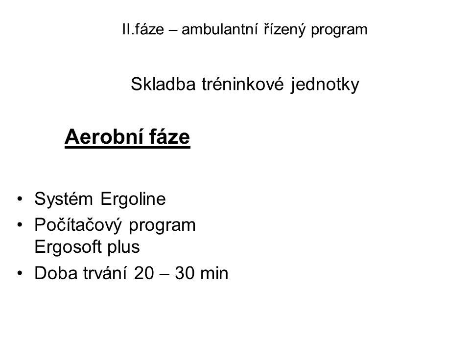 II.fáze – ambulantní řízený program Skladba tréninkové jednotky Aerobní fáze •Systém Ergoline •Počítačový program Ergosoft plus •Doba trvání 20 – 30 m