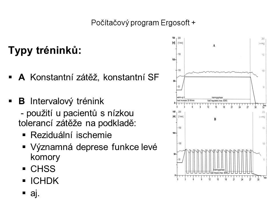 Počítačový program Ergosoft + Typy tréninků:  A Konstantní zátěž, konstantní SF  B Intervalový trénink - použití u pacientů s nízkou tolerancí zátěž