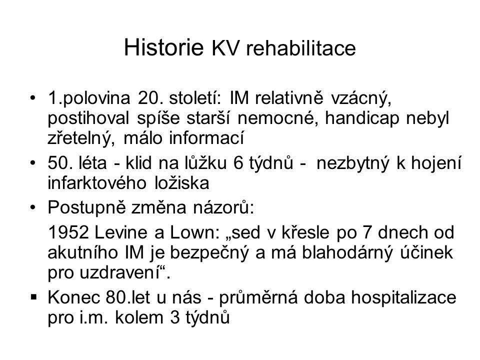 Historie KV rehabilitace •1.polovina 20. století: IM relativně vzácný, postihoval spíše starší nemocné, handicap nebyl zřetelný, málo informací •50. l