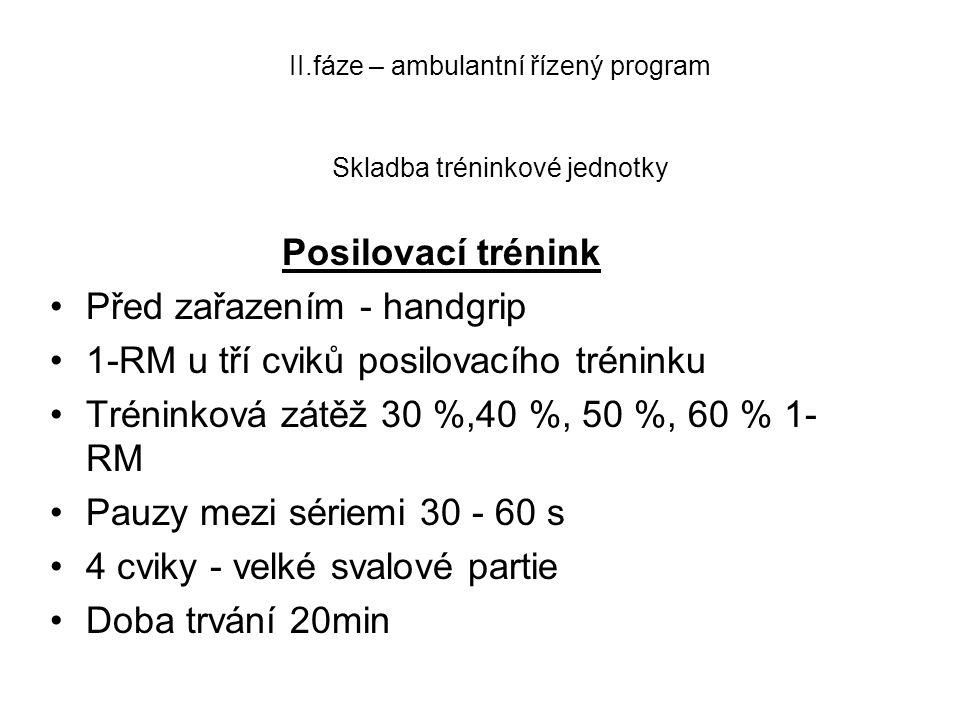 II.fáze – ambulantní řízený program Skladba tréninkové jednotky Posilovací trénink •Před zařazením - handgrip •1-RM u tří cviků posilovacího tréninku