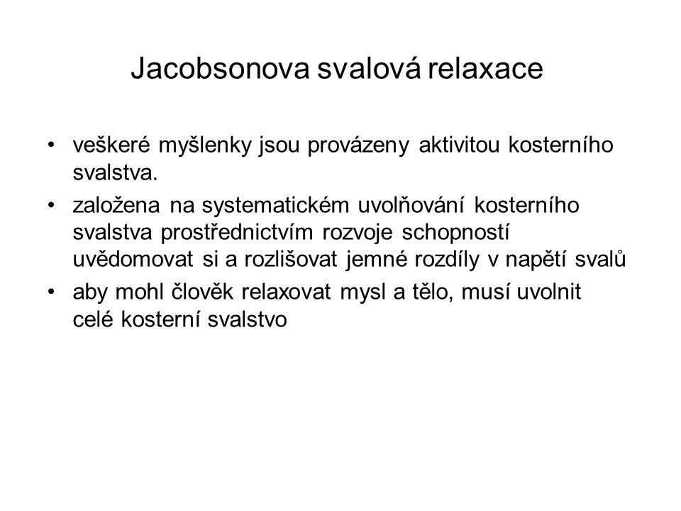 Jacobsonova svalová relaxace •veškeré myšlenky jsou provázeny aktivitou kosterního svalstva. •založena na systematickém uvolňování kosterního svalstva