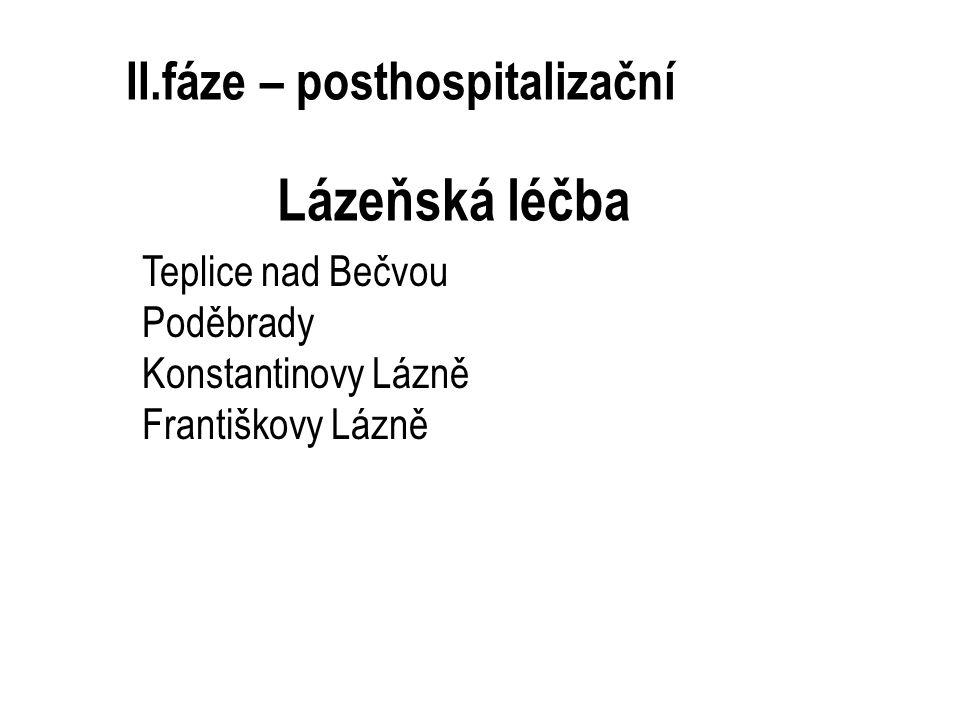 II.fáze – posthospitalizační Lázeňská léčba Teplice nad Bečvou Poděbrady Konstantinovy Lázně Františkovy Lázně