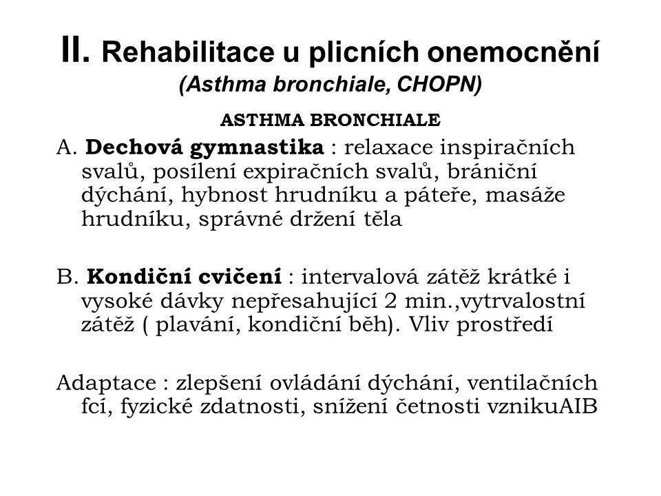 II. Rehabilitace u plicních onemocnění (Asthma bronchiale, CHOPN) ASTHMA BRONCHIALE A. Dechová gymnastika : relaxace inspiračních svalů, posílení expi
