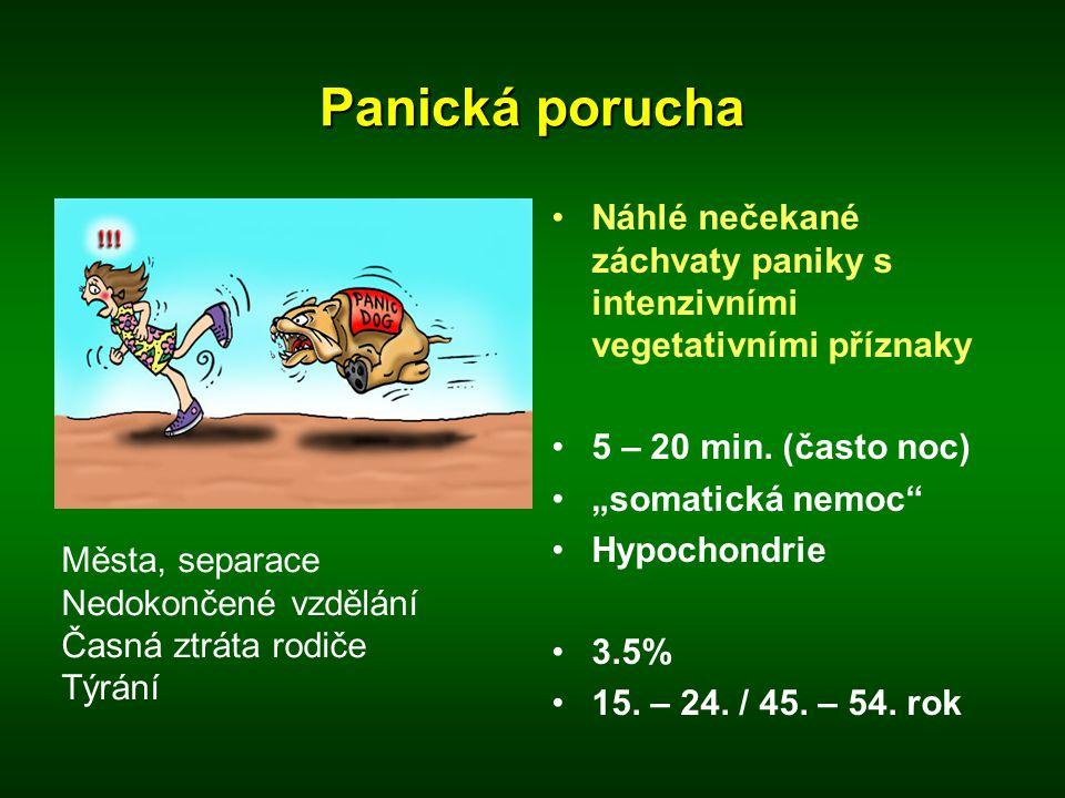 """Panická porucha •Náhlé nečekané záchvaty paniky s intenzivními vegetativními příznaky •5 – 20 min. (často noc) •""""somatická nemoc"""" •Hypochondrie •3.5%"""