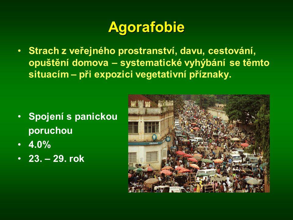 Agorafobie •Strach z veřejného prostranství, davu, cestování, opuštění domova – systematické vyhýbání se těmto situacím – při expozici vegetativní pří