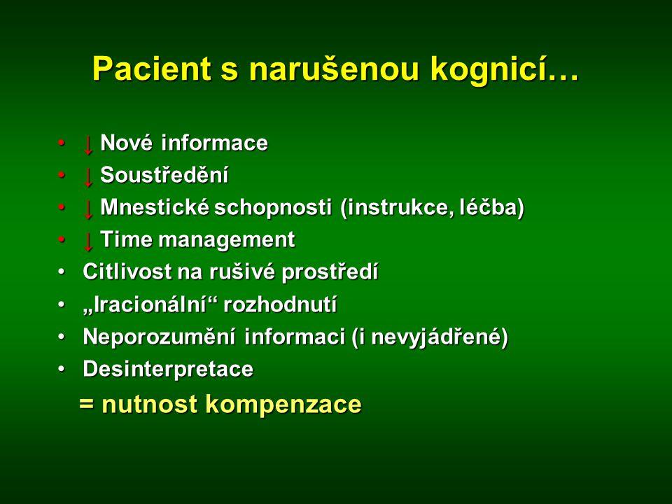 Pacient s narušenou kognicí… •↓ Nové informace •↓ Soustředění •↓ Mnestické schopnosti (instrukce, léčba) •↓ Time management •Citlivost na rušivé prost
