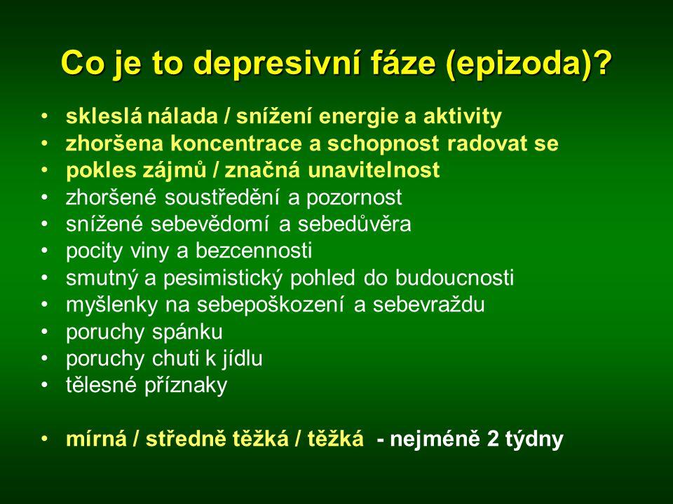 Co je to depresivní fáze (epizoda)? •skleslá nálada / snížení energie a aktivity •zhoršena koncentrace a schopnost radovat se •pokles zájmů / značná u