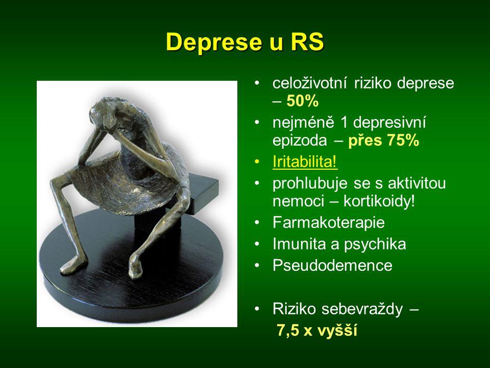 Deprese u RS •celoživotní riziko deprese – 50% •nejméně 1 depresivní epizoda – přes 75% •Iritabilita! •prohlubuje se s aktivitou nemoci – kortikoidy!