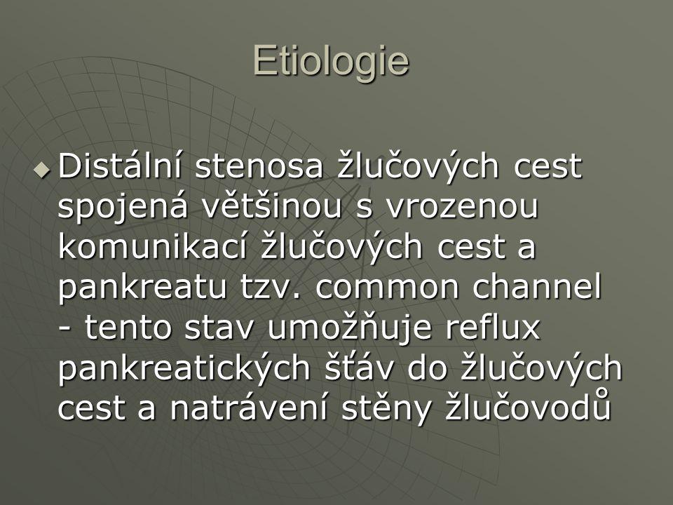 Etiologie  Distální stenosa žlučových cest spojená většinou s vrozenou komunikací žlučových cest a pankreatu tzv. common channel - tento stav umožňuj