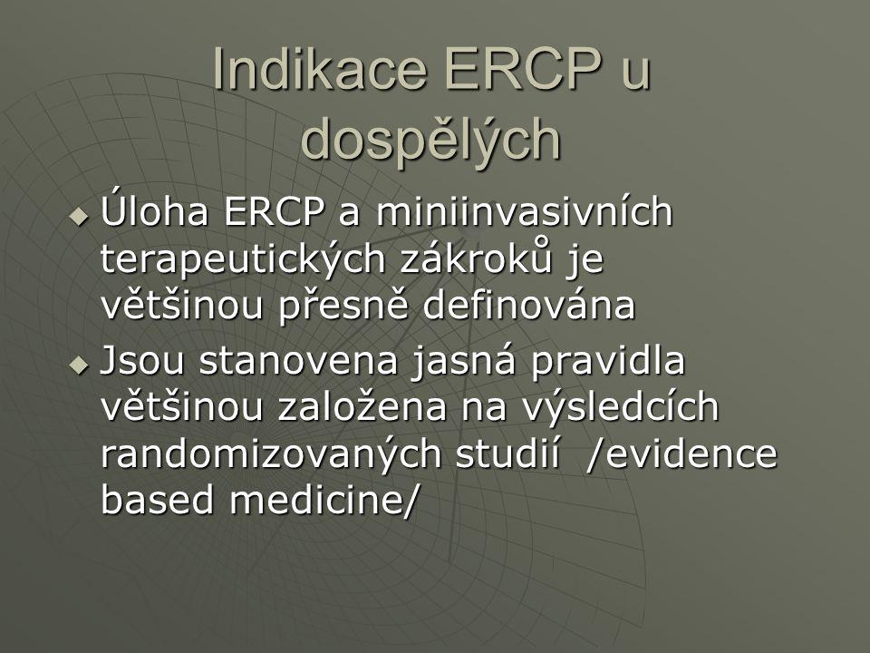 Indikace ERCP u dospělých  Úloha ERCP a miniinvasivních terapeutických zákroků je většinou přesně definována  Jsou stanovena jasná pravidla většinou