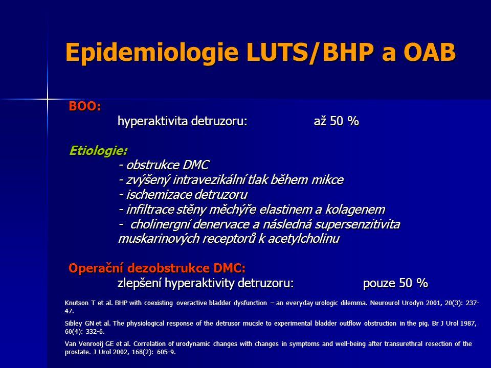 Epidemiologie LUTS/BHP a OAB BOO: hyperaktivita detruzoru:až 50 % Etiologie: - obstrukce DMC - zvýšený intravezikální tlak během mikce - ischemizace detruzoru - infiltrace stěny měchýře elastinem a kolagenem - cholinergní denervace a následná supersenzitivita muskarinových receptorů k acetylcholinu Operační dezobstrukce DMC: zlepšení hyperaktivity detruzoru:pouze 50 % Knutson T et al.