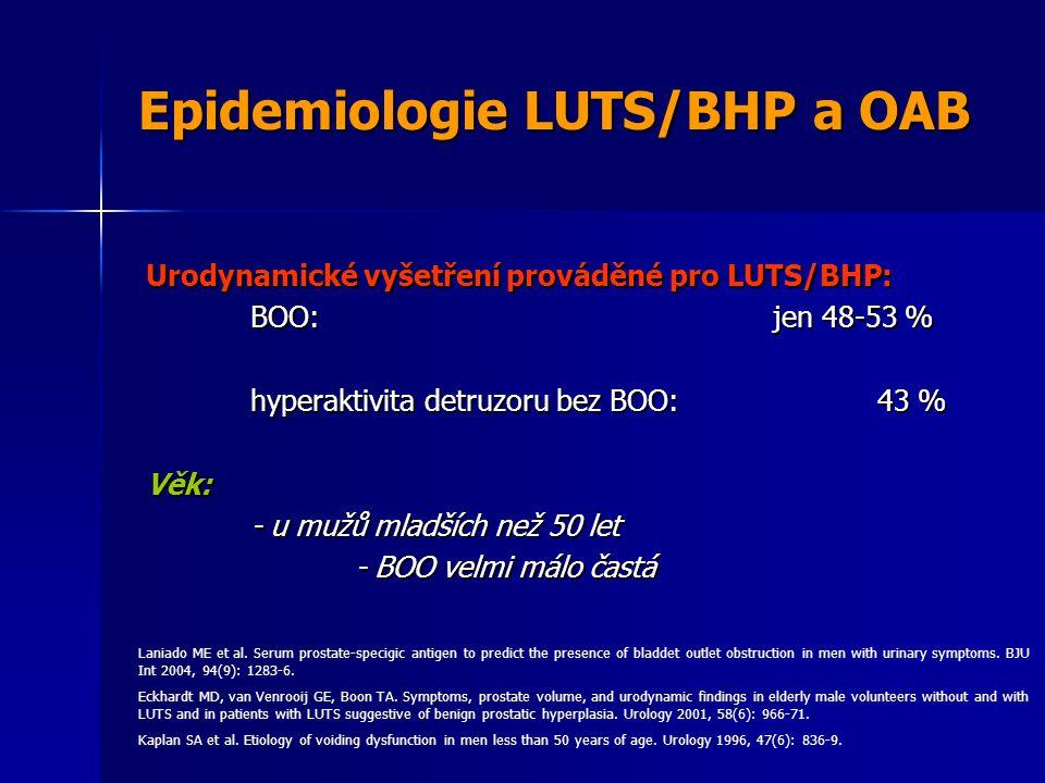 Epidemiologie LUTS/BHP a OAB Urodynamické vyšetření prováděné pro LUTS/BHP: BOO:jen 48-53 % hyperaktivita detruzoru bez BOO:43 % Věk: - u mužů mladších než 50 let - BOO velmi málo častá Laniado ME et al.
