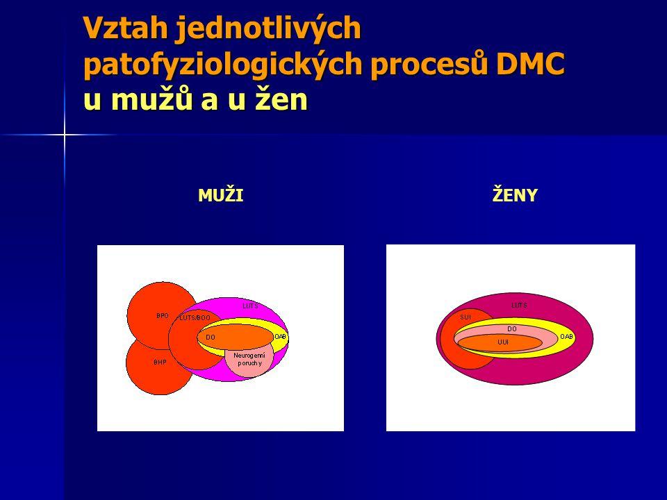 Vztah jednotlivých patofyziologických procesů DMC u mužů a u žen MUŽIŽENY