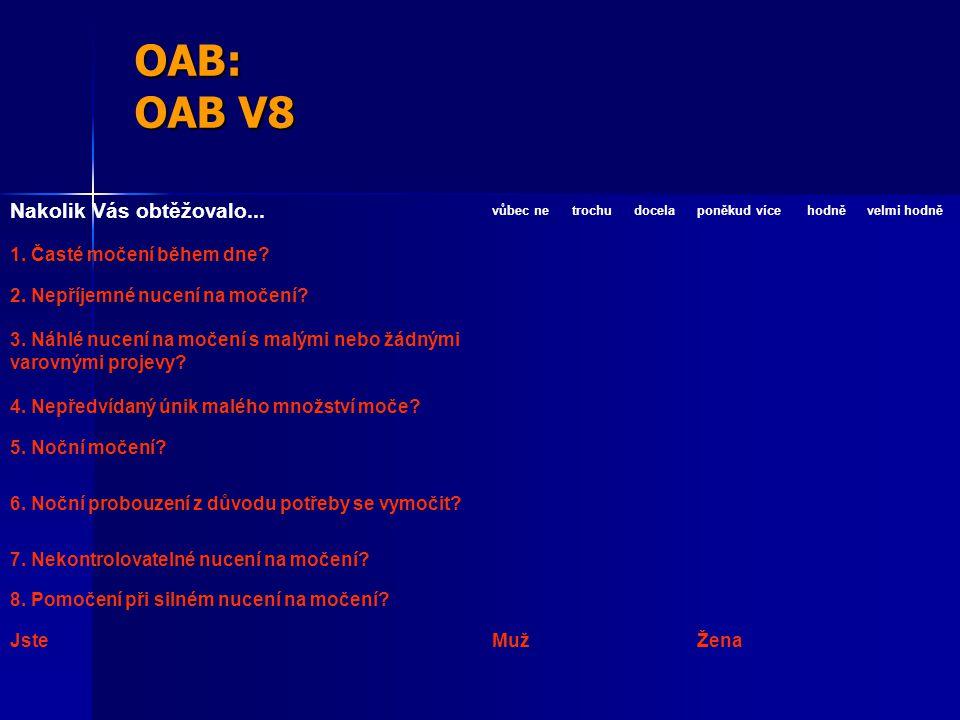 OAB: OAB V8 Nakolik Vás obtěžovalo...vůbec netrochudocelaponěkud vícehodněvelmi hodně 1.