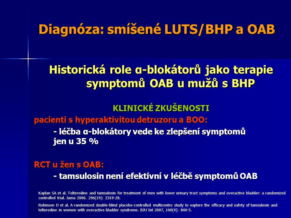 Diagnóza: smíšené LUTS/BHP a OAB Historická role α-blokátorů jako terapie symptomů OAB u mužů s BHP KLINICKÉ ZKUŠENOSTI pacienti s hyperaktivitou detruzoru a BOO: - léčba α-blokátory vede ke zlepšení symptomů jen u 35 % RCT u žen s OAB: - tamsulosin není efektivní v léčbě symptomů OAB Kaplan SA et al.