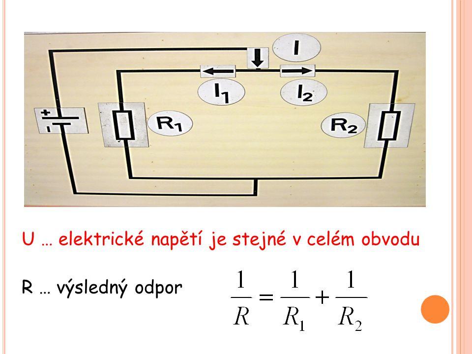 U … elektrické napětí je stejné v celém obvodu R … výsledný odpor