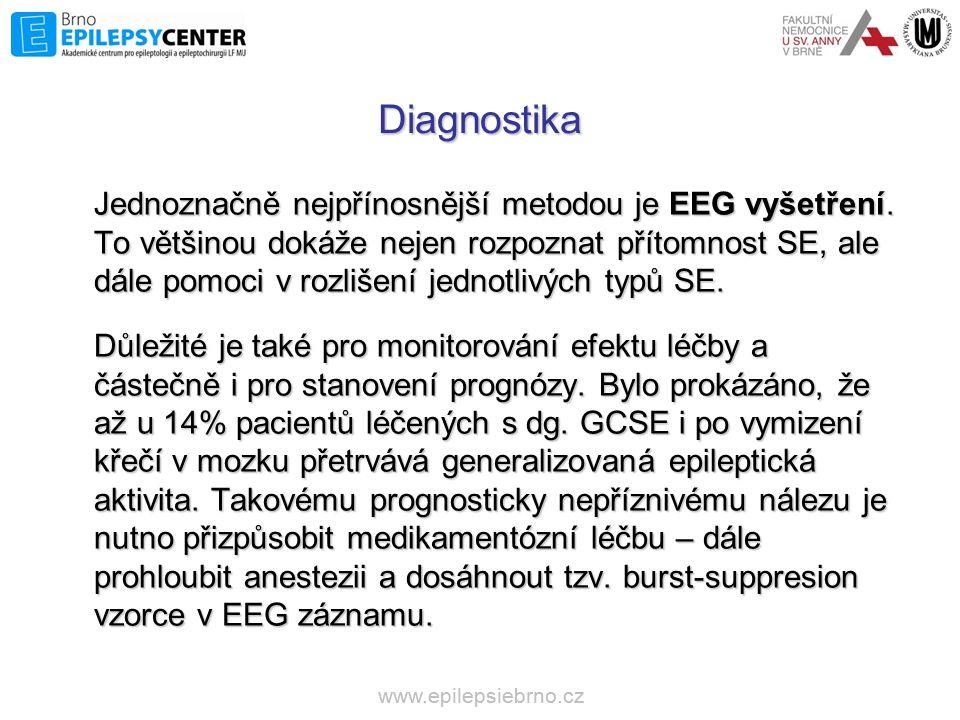 Diagnostika Jednoznačně nejpřínosnější metodou je EEG vyšetření. To většinou dokáže nejen rozpoznat přítomnost SE, ale dále pomoci v rozlišení jednotl