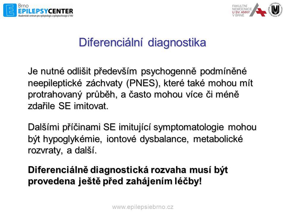Diferenciální diagnostika Je nutné odlišit především psychogenně podmíněné neepileptické záchvaty (PNES), které také mohou mít protrahovaný průběh, a