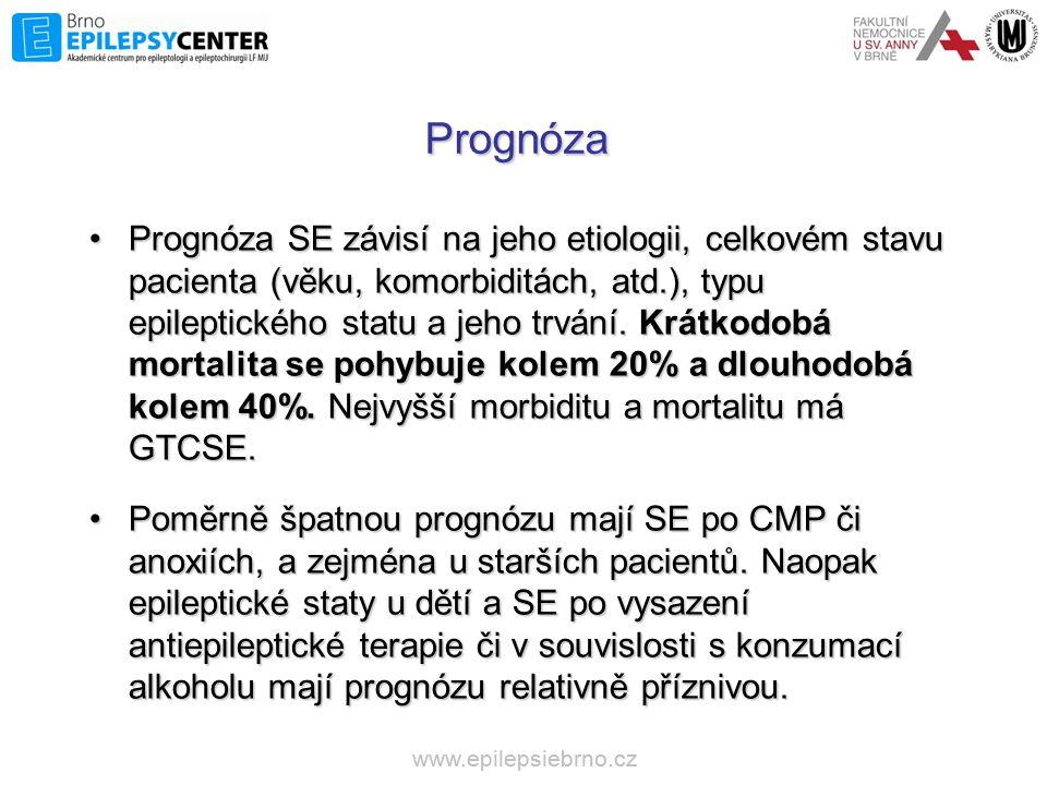 www.epilepsiebrno.cz Prognóza •Prognóza SE závisí na jeho etiologii, celkovém stavu pacienta (věku, komorbiditách, atd.), typu epileptického statu a j