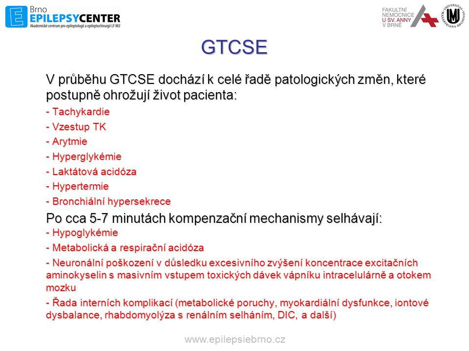 GTCSE V průběhu GTCSE dochází k celé řadě patologických změn, které postupně ohrožují život pacienta: - Tachykardie - Vzestup TK - Arytmie - Hyperglyk