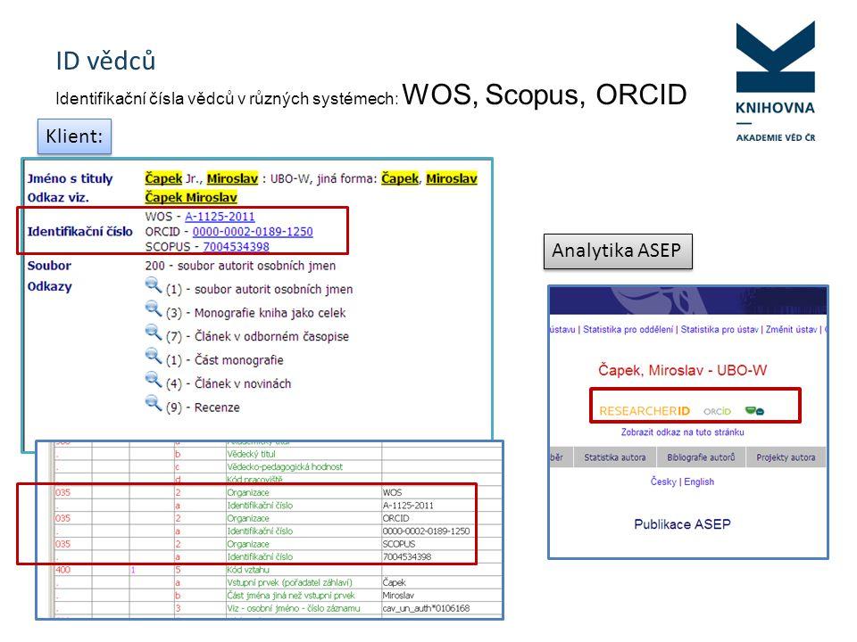 ID vědců Identifikační čísla vědců v různých systémech: WOS, Scopus, ORCID Klient: Analytika ASEP