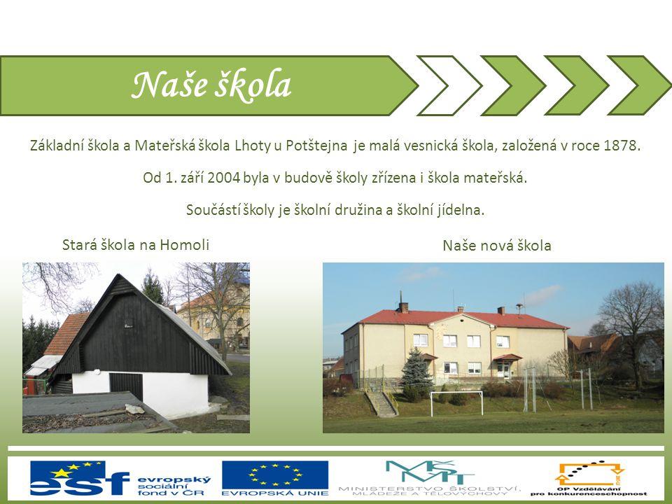 Naše škola Základní škola a Mateřská škola Lhoty u Potštejna je malá vesnická škola, založená v roce 1878. Od 1. září 2004 byla v budově školy zřízena
