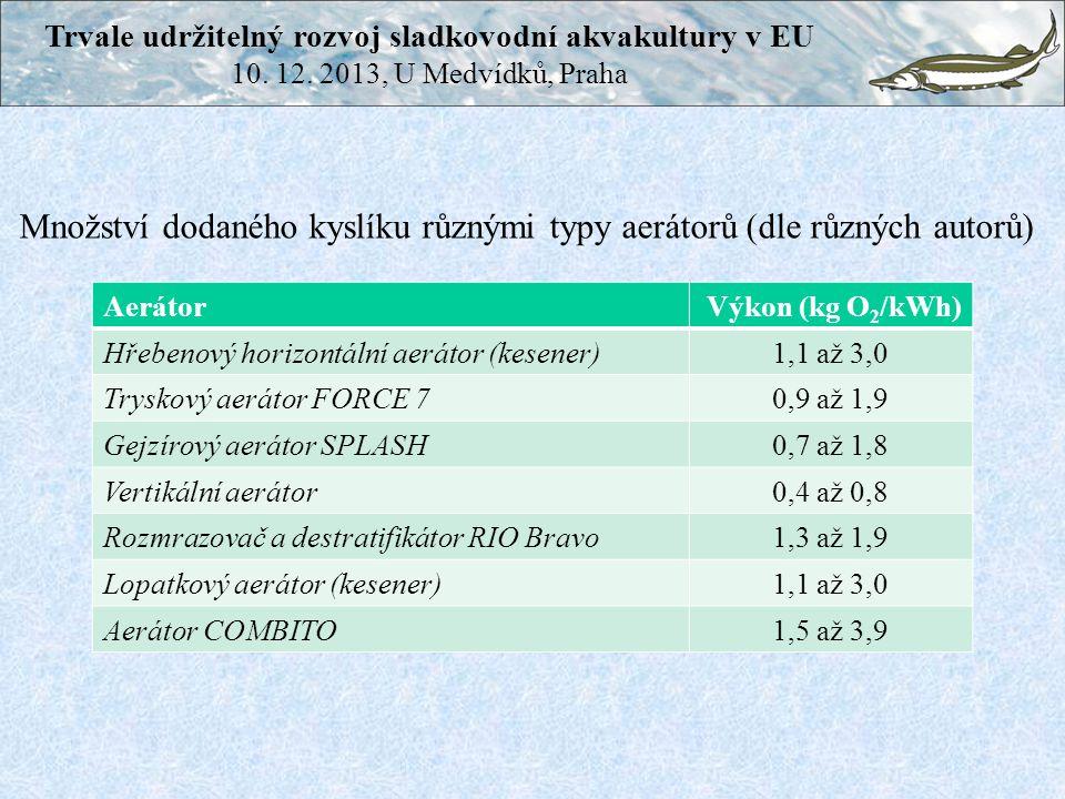Aerátor Výkon (kg O 2 /kWh) Hřebenový horizontální aerátor (kesener)1,1 až 3,0 Tryskový aerátor FORCE 70,9 až 1,9 Gejzírový aerátor SPLASH0,7 až 1,8 V