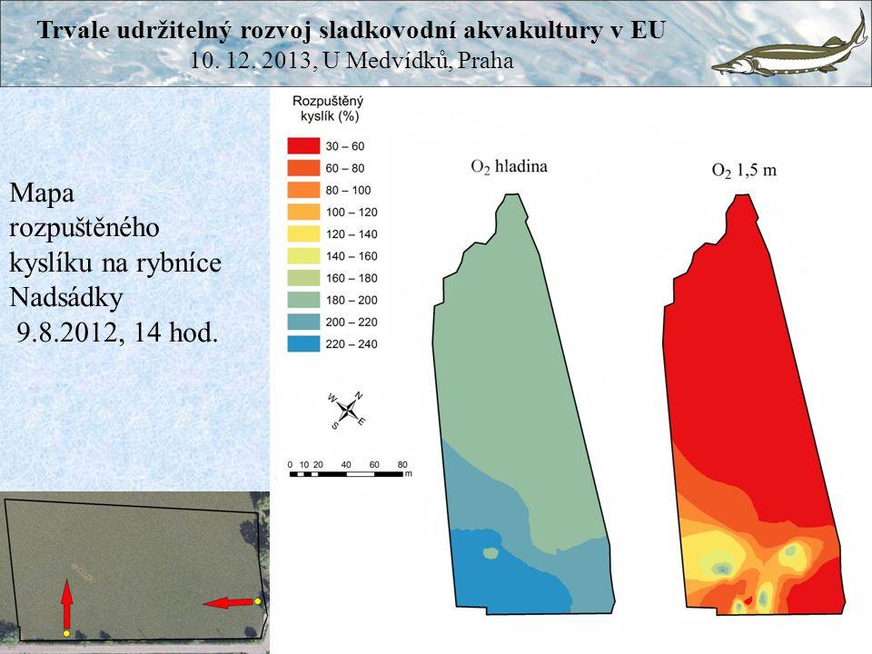 Mapa rozpuštěného kyslíku na rybníce Nadsádky 9.8.2012, 14 hod. Trvale udržitelný rozvoj sladkovodní akvakultury v EU 10. 12. 2013, U Medvídků, Praha