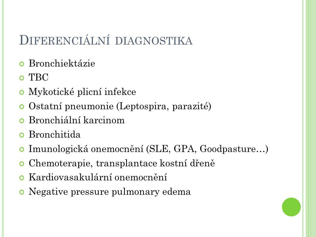 D IFERENCIÁLNÍ DIAGNOSTIKA Bronchiektázie TBC Mykotické plicní infekce Ostatní pneumonie (Leptospira, parazité) Bronchiální karcinom Bronchitida Imunologická onemocnění (SLE, GPA, Goodpasture…) Chemoterapie, transplantace kostní dřeně Kardiovasakulární onemocnění Negative pressure pulmonary edema
