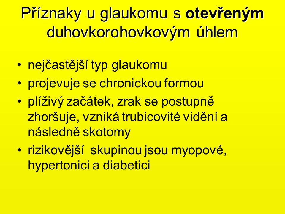 Příznaky u glaukomu s otevřeným duhovkorohovkovým úhlem •nejčastější typ glaukomu •projevuje se chronickou formou •plíživý začátek, zrak se postupně z